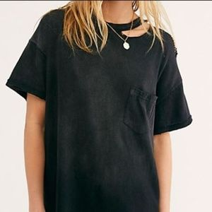 Free People Black Lucky Tee Distressed T-Shirt
